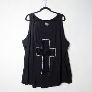 Torrid Shredded Distressed Cross Tank Top
